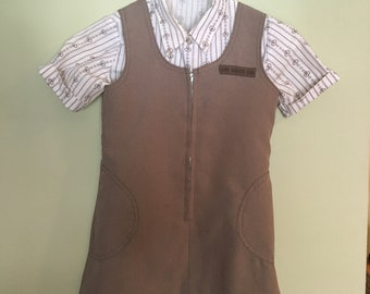 Vintage Girl Scout Brownie Jumper and Blouse - Size 7/8
