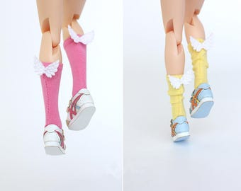 16 COLORFUL Long socks with wings for Nude Blythe Neo Doll Jerryberry Azone Lati Momoko Dal Pukifee Pullip Doll Accessories Doll Outfit
