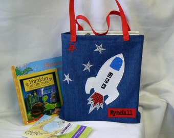 Kids Book Bag|Personalized Tote Outer Space|Astronaut tote bag|Library book bag|Trick or Treat|Christmas Gift|Toddler Bag|Preschool Bag
