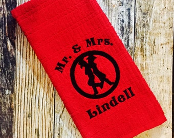 Personalized Cowboy Mr. & Mrs. Silhouette Kitchen Towel - Embroidered Hand Towel - Country Bride and Groom Wedding Gift