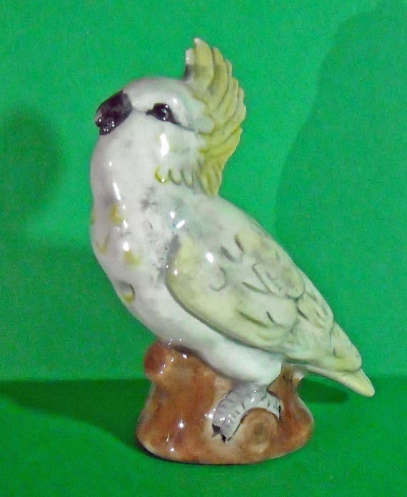 Vintage Ceramic Sulfur-crested Cockatoo with his Head Up