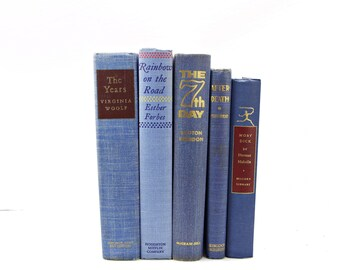 Pastel Blue  Decorative Books, Wedding Decor Centerpiece, Old Book Collection, Antique BOok set, Home Decoration, Interior Design
