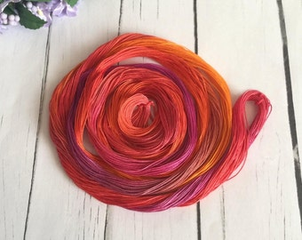Hand Dyed Tatting Thread - Size 50 - Crochet Cotton Thread - Red , Orange , Purple  - Saffron - 50 Yards