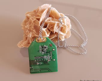Circuit board handmade necklace - Stainless Steel - Geek Computer Jewelry - Electronic recycling - Gift for her