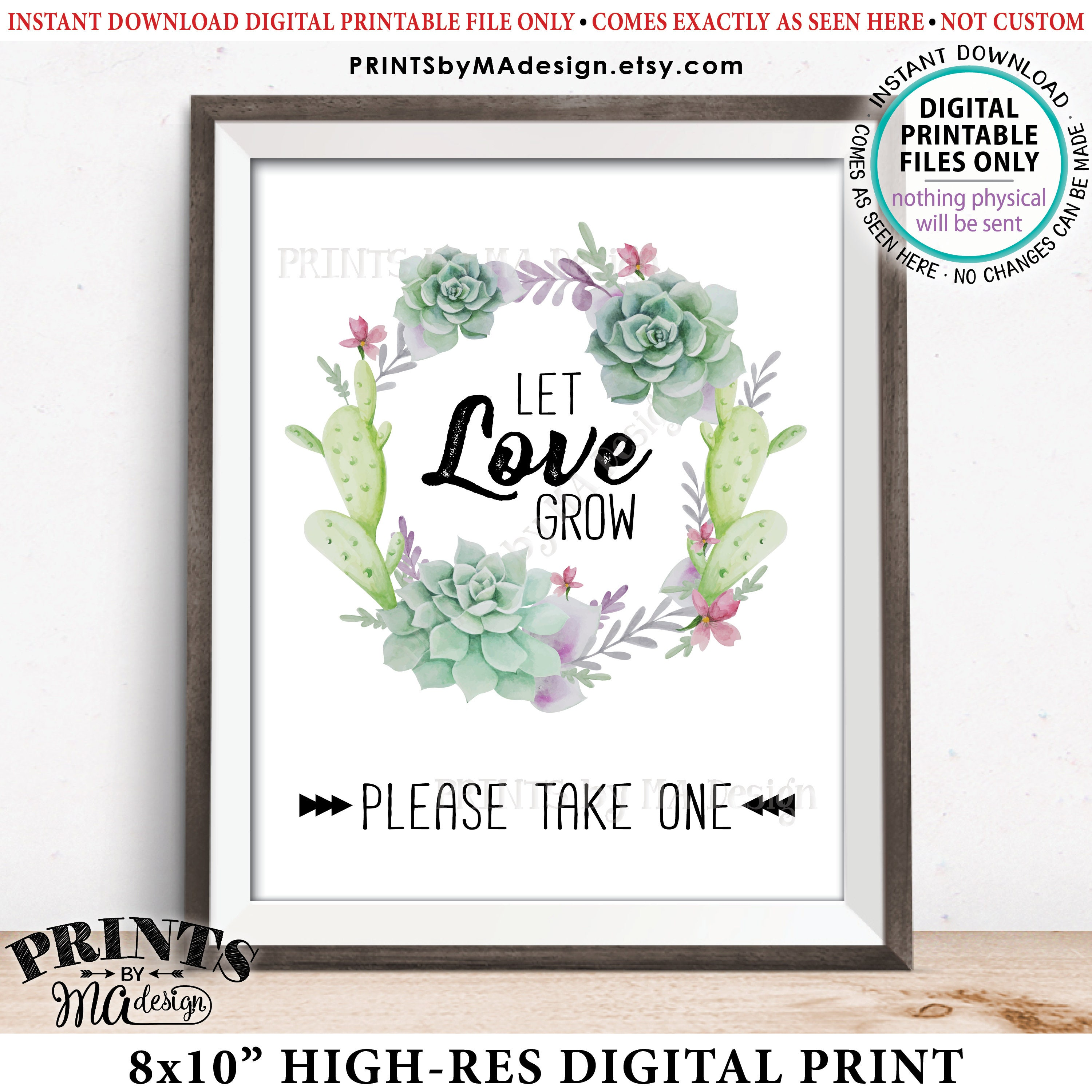 Let Love Grow Sign, Succulents Wedding Favors Sign, Cactus ...