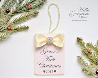 Baby's First Christmas Gift Ornament - Gift for New Baby Girl Christmas Ornament - Baby Christmas Holiday Keepsake - Christmas Gift Newborn