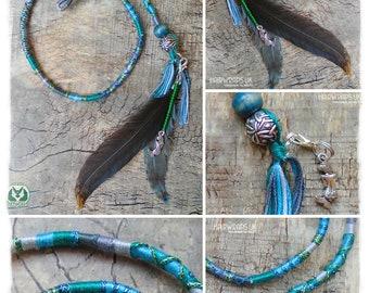 Mermaid Hair Wrap, Cruelty free feathers, Hand dyed feathers, Ethical feather hair wrap, Wooden beads, Silver mermaid, Green, CELTIC MERMAID