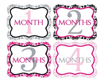 12 Monthly Baby Milestone Waterproof Glossy Stickers - Die Cut Shape - Just Born - Newborn - Weekly stickers available - Design M020-01