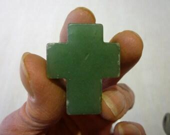 L42 Vintage Jade Cross Pendant.
