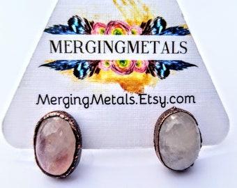 Electroformed Copper Moonstone Post Earrings // Pure Copper //  Stone Earrings, Stud Earrings
