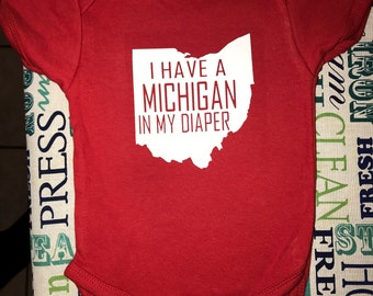 Michigan in my diaper onsie