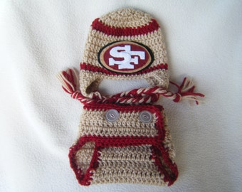 Crocheted 49er's Inspired Team Colors Hat & Diaper Cover (Or Choose Another Team) These Are Made to Order