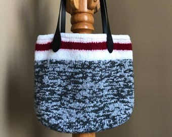 Wool sock tote bag.