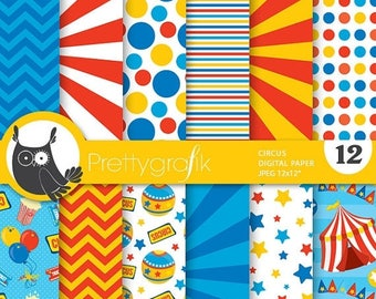 80% OFF SALE Circus digital paper, commercial use, scrapbook papers, background - PS681