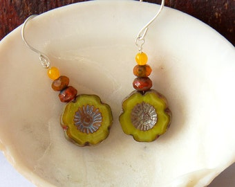 Yellow earrings, sunflower earrings, flower earrings, silver earrings, drop earrings, colourful earrings, happy earrings, bright earrings