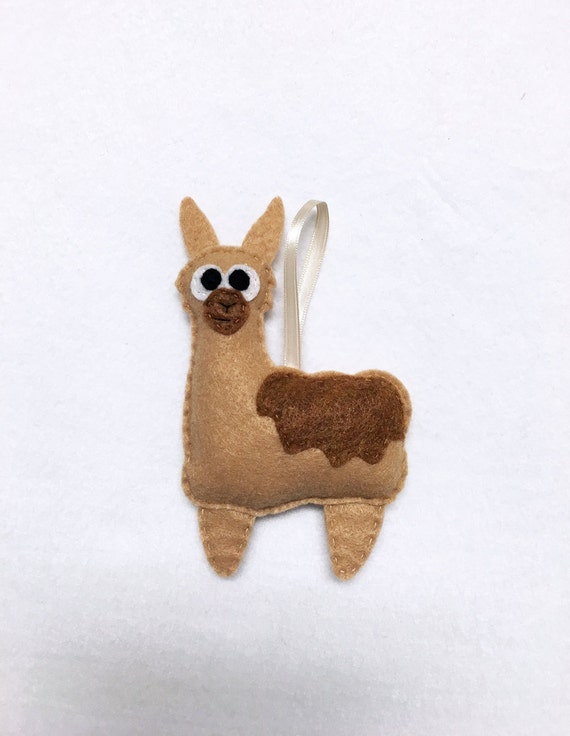 Llama Ornament, Christmas Ornament, Leonard the Llama, Felt Animal, Farm Animal