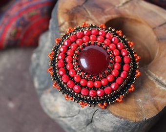 Red Beadwork Brooch Bead embroidery Brooch Embroidered Brooch Red Brooch Cabochon jewelry Red Black Copper Gift for her MADE TO ORDER