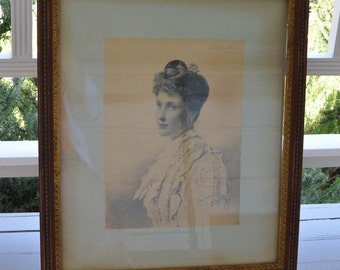 "Antique English Engraving, Connecticut History, Engraving of Anita Smith Caldwell 1888 20"" by 23"" Portrait"