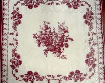 Pink flowers on ivory background paper towel