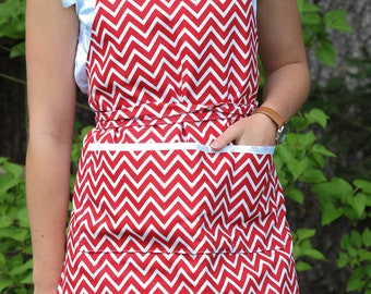 Red and White Zig Zag Apron