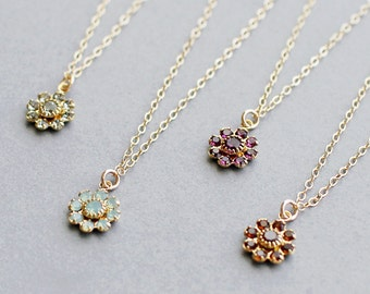 "flower necklace, pretty dainty necklace, floral jewelry, bridesmaid jewelry, flower girl necklace, gold pendant necklace, ""floret"" necklace"
