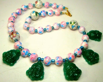 Chinese Buddha Head Necklace w Speckled Pink Japan Porcelain , Chinese Cloisonne, Green Metallic Glass Spacer Beads, OOAK by Rachelle Starr