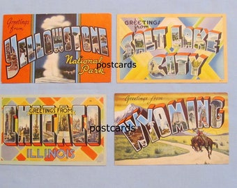 Four Large Letter Postcards – Wyoming, Yellowstone, Salt Lake City, Chicago, 1940s