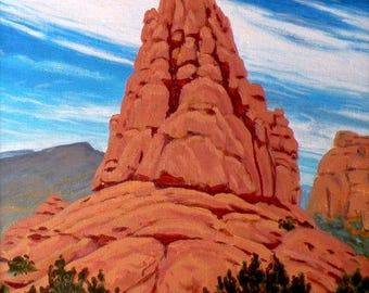 Bryce 'Red Canyon Sentinel' - original landscape painting - Utah - sage - desert painting - western decor - rock art - free shipping