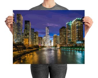 Chicago Skyline Willis Sears Tower Lake Michigan River Navy Pier Poster Wall Art For Lover of Chicago