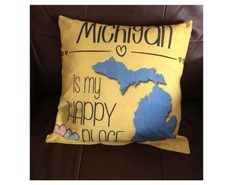 Michigan is My Happy Place in Yellow Throw Pillow