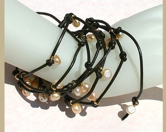 Moonlight Pearl Leather Wrap Bracelet - Peach Gold And Brown