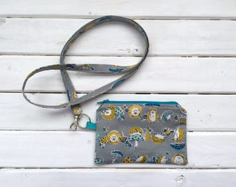 Lanyard with Zipper Pouch- Gray Hedgehogs- Imported Japanese Cotton
