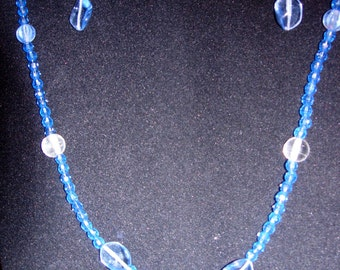 Necklace and Earring Set - clear plastic beads and blue glass beads