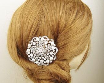 Vintage Bridal Hair Comb, Pearl & Crystal Wedding Hair Comb, Bridal Hair Accessories, Art Deco Hair Accessory, Pearl Bridal Hair Piece, MILA
