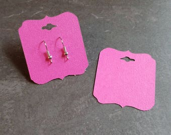 Hot Pink, Bright Pink,  Earring Cards, Pierced Earring Cards