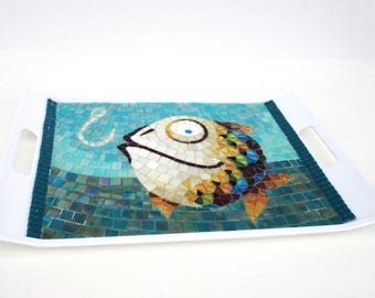 Glass Mosaic Serving Tray Fish and Hook