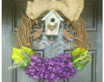 Summer Wreath Front Door, Size 18 to 24 Inches, Hydrangea Wreath, Choose Colors, Bird House, Garden Wreath, Garden Lover Gift. Bird Lover