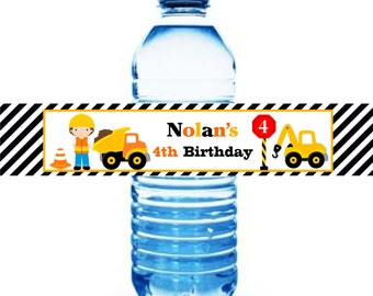 Construction Water Bottle labels, Printable Dump truck Water Bottle Labels, Construction Birthday Party, Digital