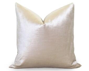 Glisten Velvet Pillow Cover - Champagne - Light Gold Velvet Silver Pillow - Velvet Pillow - Decorative Pillow - Designer Pillow