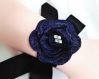 Rhinestone flower corsage, Wedding cuff, Bridal cuff bracelet, Bridal wrist cuff, Ribbon bracelet, Bridesmaid bracelet, Wrist corsage