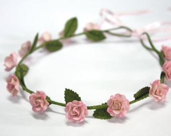 Pink Roses Tiara, Miniature Polymer Clay Flowers Hair Accessories