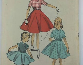 Vintage Advance Sewing Pattern 6487 Girls Belted Dress 1940s Size 6