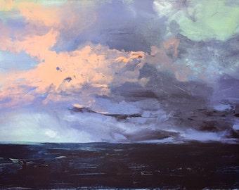 Sail Through The Storm - Large Print 24x30 - Poster - Ocean - Aquatic - Sea - Beach - Landscape Painting - Sunset