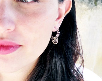 Mashrabiya Gipsy earring No 1. Modern Geometry. Handmade Silver Lace Hoop Earring. Architecture Inspired Design. Neoclassical Sterling Gipsy