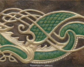 Psycho-Celtic Dragon - Cast Paper - Fantasy art - Celtic Dragon - Celtic Knot -  Draco - Wyrm - zoomorphic
