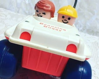Vintage Fisher Price Little People, Bouncing Buggy Toy Car, Dune Buggy. Pull Toy.