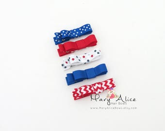 "Baby Hair Bow Set of 5- 1.75"" Girls Hair Bow, 4th of July, Toddler Hair Bow, No Slip Alligator Clip for Baby Girl- Made to Order"