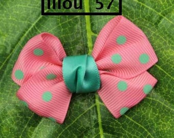 Pretty bows Ribbon pink Satin appliques, pea green