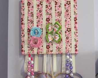 "Hairbow, jewelry and head band organizer/board/holder ""Pink & Brown"""