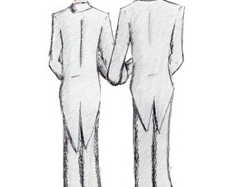 Gay Wedding Card, Congratulations on your Wedding Day, Two Grooms, same sex card, made on recycled paper, comes with envelope and seal